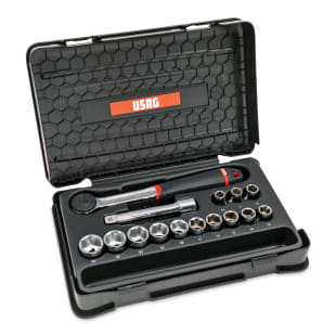 "USAG 15-Piece Metric Socket & Ratchet Set, 1/2"" Drive"